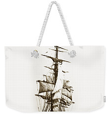 Weekender Tote Bag featuring the photograph Tall Ship Sailing Out Of San Francisco California Circa 1900 by California Views Mr Pat Hathaway Archives