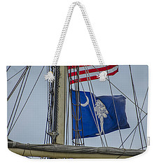 Weekender Tote Bag featuring the photograph Tall Ships Flags by Dale Powell
