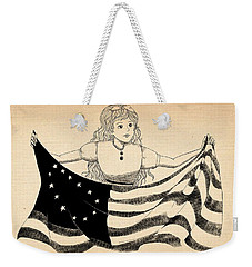 Weekender Tote Bag featuring the drawing Tammy And The Flag by Reynold Jay