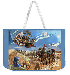 Weekender Tote Bag featuring the painting Tammy And The Flying Carpet by Reynold Jay