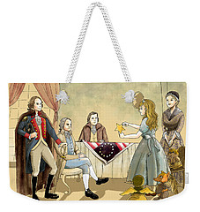 Weekender Tote Bag featuring the painting Tammy Meets Betsy Ross And George Washington by Reynold Jay
