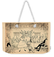 Weekender Tote Bag featuring the drawing Tammy In Indpendence Hall by Reynold Jay