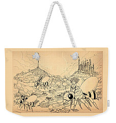 Weekender Tote Bag featuring the drawing Flight Over Capira by Reynold Jay