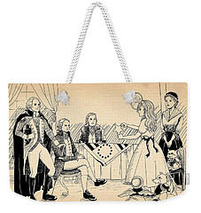 Weekender Tote Bag featuring the drawing Tammy Meets Betsy Ross by Reynold Jay