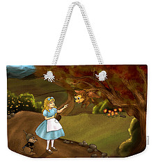 Weekender Tote Bag featuring the painting Tammy Meets Zeke The Opossum by Reynold Jay