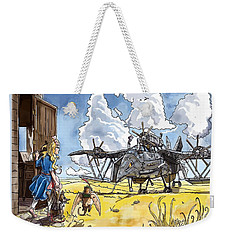 Weekender Tote Bag featuring the painting Tammy Sees A Thingamajig by Reynold Jay