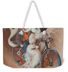 Weekender Tote Bag featuring the painting Tandem by Marina Gnetetsky