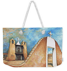 Taos Pueblo New Mexico - Watercolor Art Weekender Tote Bag