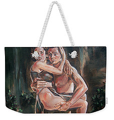 Weekender Tote Bag featuring the painting Tarzan And His Mate by Bryan Bustard