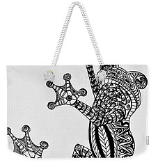 Weekender Tote Bag featuring the drawing Tattooed Tree Frog - Zentangle by Jani Freimann