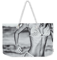 Weekender Tote Bag featuring the photograph Ms Turkey Tatyana Running Wild In The Ocean Waves - Glamor Girl Photo Art by Amyn Nasser