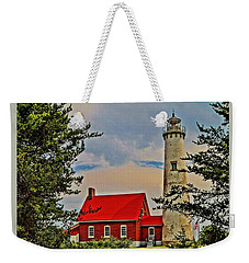 Tawas Point Light Retro Mode Weekender Tote Bag