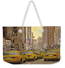 taxi a New York Weekender Tote Bag by Guido Borelli