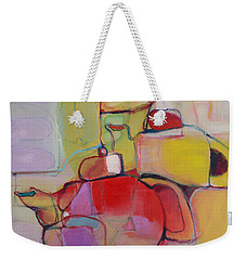 Weekender Tote Bag featuring the painting Tea For Two by Michelle Abrams