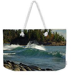 Teal Blue Waves Weekender Tote Bag by Melissa Peterson