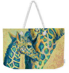 Teal Giraffes Weekender Tote Bag by Jane Schnetlage