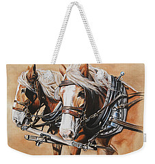 Weekender Tote Bag featuring the painting Ted And Tom by Kim Lockman