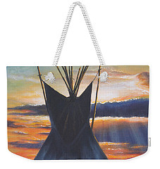 Weekender Tote Bag featuring the painting Teepee At Sunset Part 1 by Kim Lockman