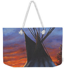 Weekender Tote Bag featuring the painting Teepee At Sunset Part 2 by Kim Lockman