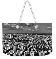Tel Aviv Center Black And White Weekender Tote Bag by Ron Shoshani