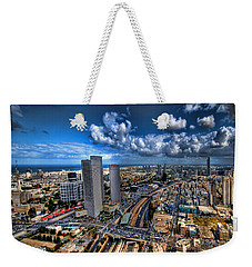 Weekender Tote Bag featuring the photograph Tel Aviv Center Skyline by Ron Shoshani