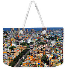 Weekender Tote Bag featuring the photograph Tel Aviv Eagle Eye View by Ron Shoshani