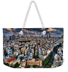 Weekender Tote Bag featuring the photograph Tel Aviv Lookout by Ron Shoshani