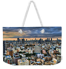 Weekender Tote Bag featuring the photograph Tel Aviv Skyline Winter Time by Ron Shoshani