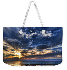 Weekender Tote Bag featuring the photograph Tel Aviv Sunset At Hilton Beach by Ron Shoshani