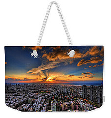 Weekender Tote Bag featuring the photograph Tel Aviv Sunset Time by Ron Shoshani