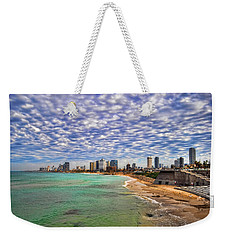 Weekender Tote Bag featuring the photograph Tel Aviv Turquoise Sea At Springtime by Ron Shoshani