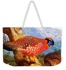 Weekender Tote Bag featuring the painting Temmincks Tragopan by Pg Reproductions