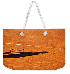 Tennis Player Shadow On A Clay Tennis Court Weekender Tote Bag