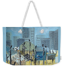 Weekender Tote Bag featuring the painting Tent City Homeless by Judith Rhue