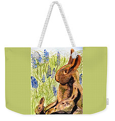 Weekender Tote Bag featuring the painting Terra Cotta Bunny Family by Angela Davies