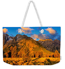 Weekender Tote Bag featuring the photograph Teton Mountain View Panorama by Greg Norrell