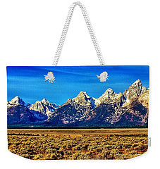 Weekender Tote Bag featuring the photograph Teton Panorama by Benjamin Yeager