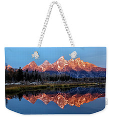 Weekender Tote Bag featuring the photograph Teton Sunrise by Benjamin Yeager