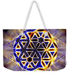 Weekender Tote Bag featuring the drawing Tetra Balance Crystal by Derek Gedney