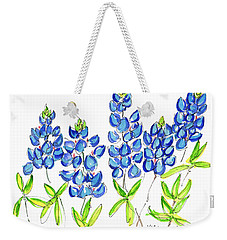 Texas Bluebonnets Watercolor Painting By Kmcelwaine Weekender Tote Bag by Kathleen McElwaine
