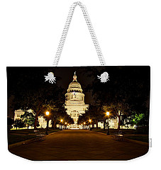 Weekender Tote Bag featuring the photograph Texas Capitol At Night by Dave Files