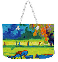 Texas Cows At Sunset Oil Painting Bertram Poole Apr14 Weekender Tote Bag by Thomas Bertram POOLE