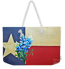 Texas Flag With Bluebonnets Weekender Tote Bag