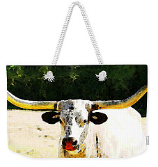 Texas Longhorn - Bull Cow Weekender Tote Bag by Sharon Cummings
