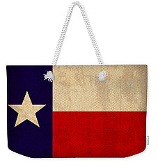 Texas State Flag Lone Star State Art On Worn Canvas Weekender Tote Bag by Design Turnpike