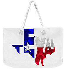 Texas Typographic Map Flag Weekender Tote Bag by Ayse Deniz