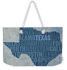 Texas Word Art State Map On Canvas Weekender Tote Bag by Design Turnpike