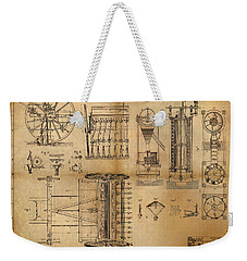 Weekender Tote Bag featuring the painting Textile Machine by James Christopher Hill