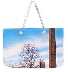 Weekender Tote Bag featuring the photograph Historical Textile Mill Smoke Stack In Columbus Ga by Vizual Studio