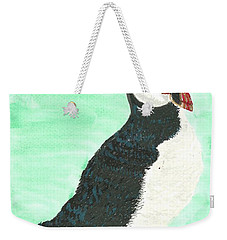 Weekender Tote Bag featuring the painting That's Another Puffin Year Over by Tracey Williams